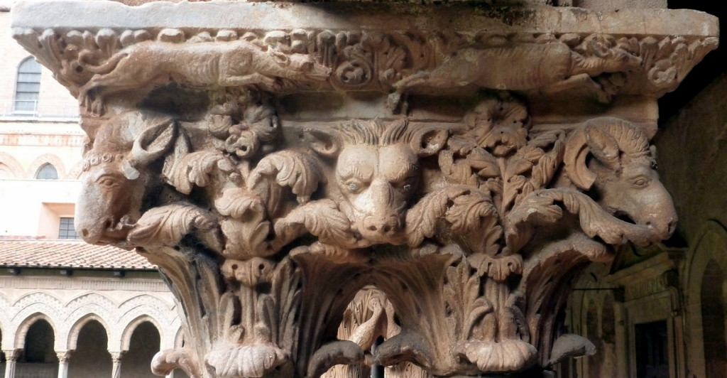 Capitol showing a variety of animal heads.