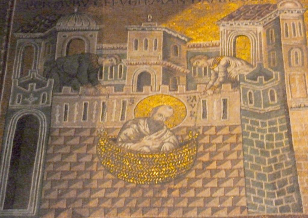 Paul lowered in abasket.  (Monreale Duomo)