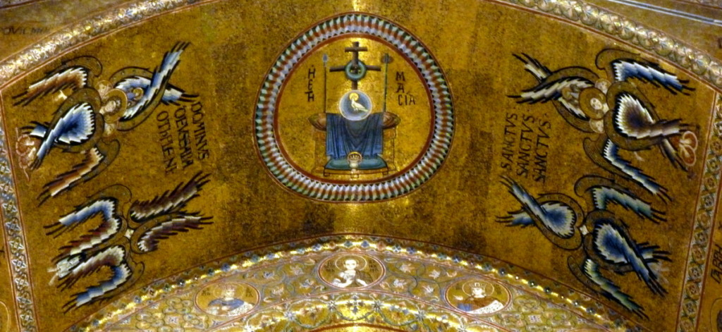 Angel's offer praise around the throne.  High above the altar.  (Monreale Duomo)