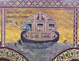 Noah releases a dove. (Monreale Duomo)